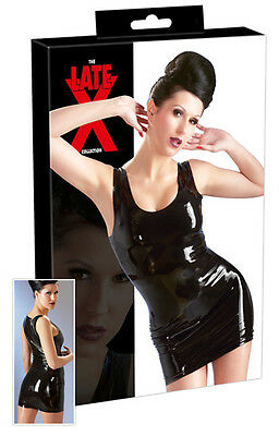 Mini abito in lattice nero Latex Sexy shop Toy lingerie intimo donna Fetish xxx