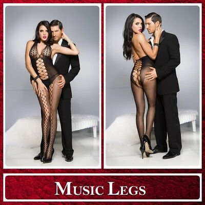 Bodystocking nera Lacing Design Music Legs Sexy Toys Shop Lingerie Donna Intimo