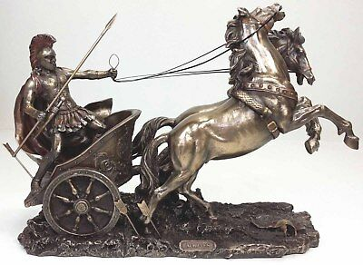 Achilles Greatest Greek Hero Of The Trojan War On Chariot Bronze Finished Statue