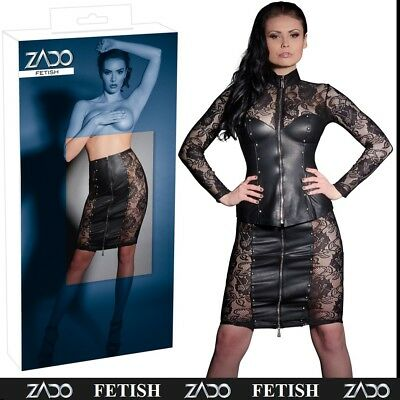 Gonna in pelle nera con pizzo ZADO Sexy Intimo Abiti Fetish Bondage Erotic XXX
