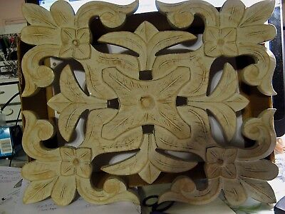 """Architectural Relief Panel Hand carved Wood Whitewash Wall Art 18.5"""" x 15"""""""
