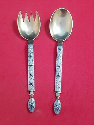 "Tostrup Norwegian Snowflake Enamel Vermeil Sterling  7"" Serving Set #3718"