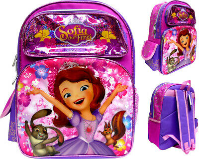 """Disney Princess Sofia the first 16"""" Large School Backpack Girl's Book Bag"""