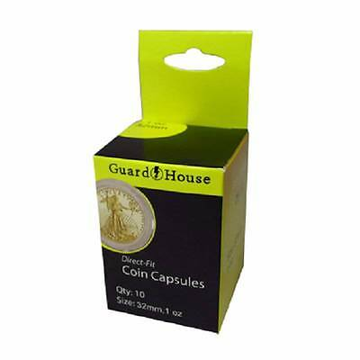 Direct Fit Air Tight Coin Capsules, 1 oz Gold Eagle by Guardhouse 32mm, 10 pack