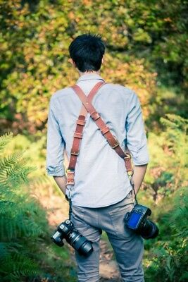 Dual Multi Camera Tan Genuine Leather Harness Shoulder Strap for Photographers
