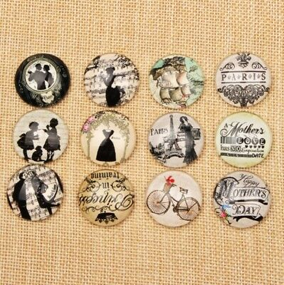 10 Vintage Victorian Paris Cabochons Round Mixed Glass Cabochon Flat Back 10mm