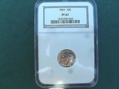 1961 Roosevelt JS Proof Silver Dime Graded by NGC PF 67  A Beauty!