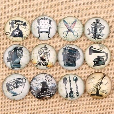 10 Vintage Aged Dome Cabochons Mixed Round Glass Cabochon Flat Back Classical UK