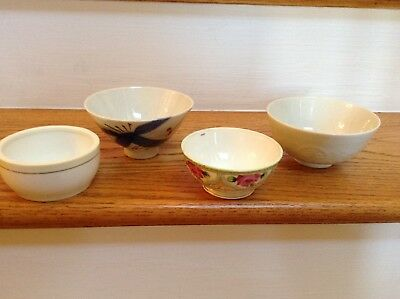Vintage Japanese Porcelain Rice/Soup Bowls Lot of 4 - Hand Painted Nippon  L@@K