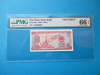 Viet Nam  1985 P# 89s  AA 0000000  5 Hao  SPECIMENT PMG 66   GEM UNC