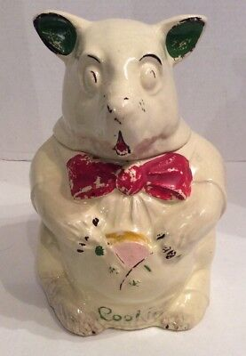 Vintage McCoy Bear Cookie Jar 1940's Rare Bear Holding Cookie Jar