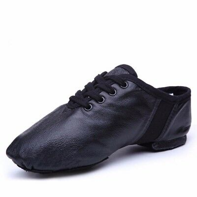 Jazz Hiphop Shoes Black Genuine Premium Leather Boys Girls Adults Lace Up #113J