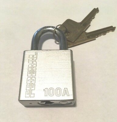 Federal Lock Padlock 100A Silver Extra Cylinders, Extra Keys