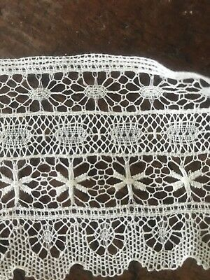 Antique French Spider Lace Trim Ornate  1900's Floral Net 3 Yards