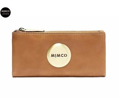 Authentic MIMCO MIM FOLD Wallet HONEY Soft Leather Gold Purse Large - RRP$179