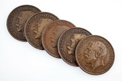 Great Britain Lot of 5 Pennies (1916 - 1921) VF - XF Condition Nice! KM #810