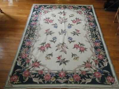 Vtg Huge Rug Tapestry needlepoint wool hand embroidered flowers foliage design