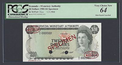 Bermuda 20 Dollars 1-5-1984 P31cs Specimen TDLR N001 Uncirculated