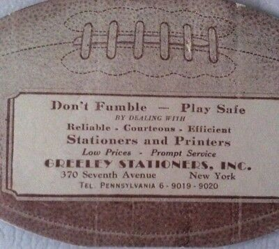 EXTREMELY RARE 1930s - 1940s GREELEY STATIONERS FOOTBALL ADVERTISING STICKER NYC