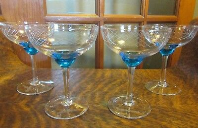 (4) BOMBAY SAPPHIRE Handblown Coupe Style Gin Martini Glasses w/ Etched Crosscut