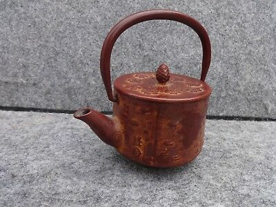 Vintage Japanese Cast Iron Small Tetsubin Tea Kettle Signed