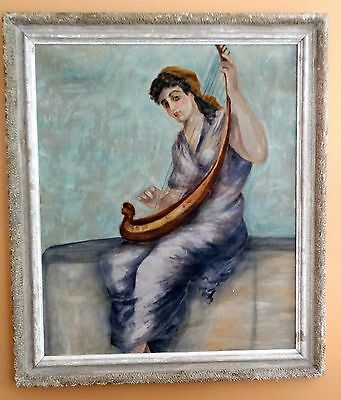 Antique Large Framed Painting Oil on Canvas Classical Woman Playing a Lyre