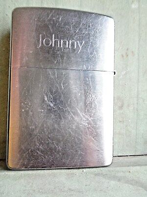 Vintage Stainless Usa Zippo Lighter With Engraved Name Johnny