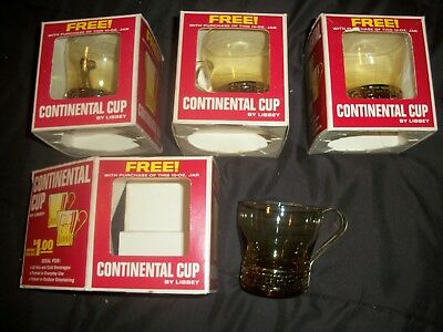 FOUR Continental Coffee Cups-Libbey NOS- Original Boxes- Maxwell House Give-Away