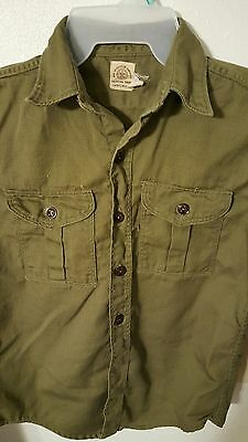 VINTAGE Boy Scout of America YOUTH Olive Green Size Small Shirt