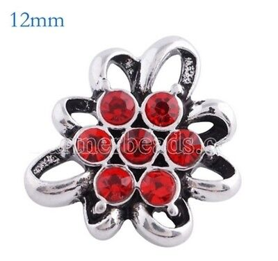 5acb8603a1c4 Silver Red Flower 12mm Mini Petite Charm For Ginger Snaps Magnolia Vine
