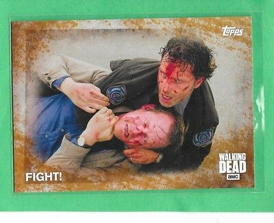 "2016 TOPPS The Walking Dead Season 5 Rust Parallel ""Fight"" Card 88 #68/99"