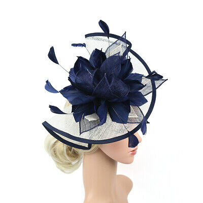 Hair Fascinator Women Hat Wedding Bridal Large Hair Clip Sinamay Headband