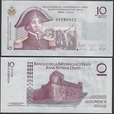 Haiti 10 Gourdes, 200 Year Independence Commemorative 1804-2004 UNC Uncirculated