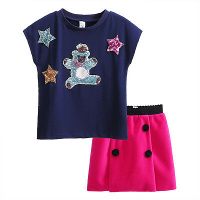 Girls T-shirt Top + Skirt Set Kids Clothes Outfit Sequin Pattern Casual Holiday