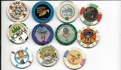 POKER CASINO CHIPS*INDIAN CASINO NATIVE AMERICAN   LOT of 11 CHIPS  L@@K