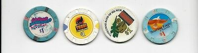 POKER CASINO CHIPS*INDIAN CASINO LOT of 4 CHIPS  NATIVE AMERICAN
