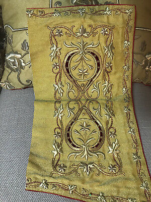 Antique French Gold Metallic Embroidered Stumpwork Panel Vine Leaves