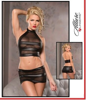 Sexy Lingerie Dress Top e minigonna Mesh Halter Mini Skirt Set Allure Fetish