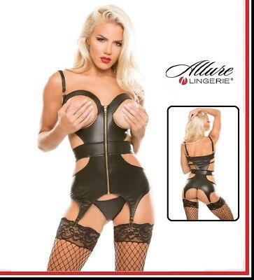 Corsetto reggicalze in similpelle Peep Show Open Allure Lingerie Sexy Fetish hot