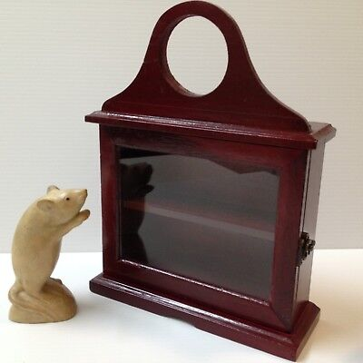Small Wood Display Case for Ornaments - Latched Door, 2 Shelves, Hang/Freestand
