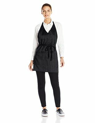 Uncommon Threads Unisex V-Neck Formal Apron, Black/White Pin Stripe, One Size