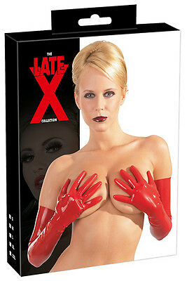 Fetish Sexy Guanti lunghi in Lattice Rosso Latex Gloves Red Dress Lingerie Toys