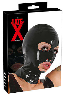 Fetish Sexy Maschera in lattice nero Latex Mask Hood Bondage Cappuccio Erotic