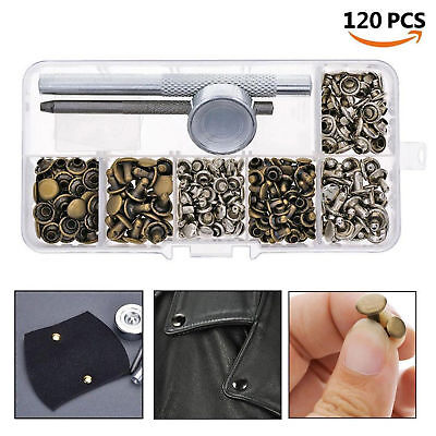 120pcs Leather Craft Repair Double Cap Rivets Metal Stud and Fixing Tool Durable