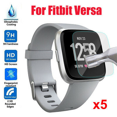 5pcs HD Tempered Glass LCD Screen Protector Film Guard Cover For Fitbit Versa