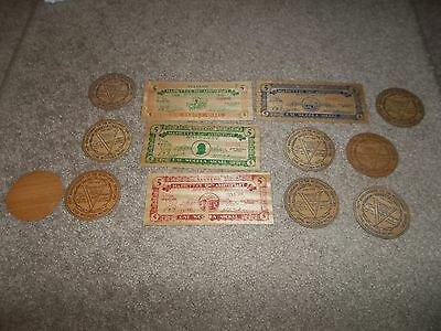 13 Vintage Rare Thin Wooden Nickels Northwest Territory Marietta Ohio 1788 1938