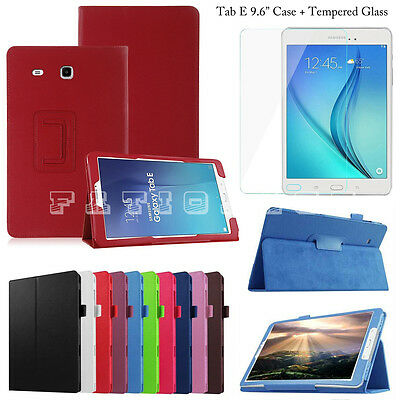 """Leather Stand Smart Case Cover (+)Tempered Glass For Samsung Tab E 9.6"""" Inch"""