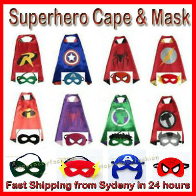 Superhero Kids Cape & Mask Costume Party Set Spiderman Hulk Ironman Incredible