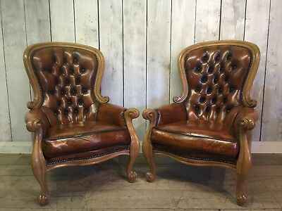 Fully Restored Pair Of Regency Style Carved Spoonback Brown Leather Armchairs