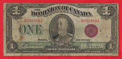 1923 $1 Dominion of Canada Bronze Seal Series B DC-25i S/N:2949894